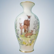 Mother's Day Lenox Porcelain Vase 1984 Doe Deer and Her Fawns in Butterfly and Wildflower Garden