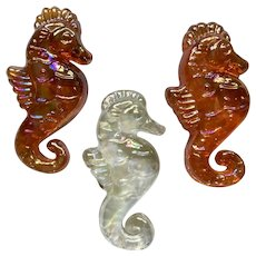 Seahorse Iridescent Glass Paperweights Aurora Borealis Orange & Clear Rainbows