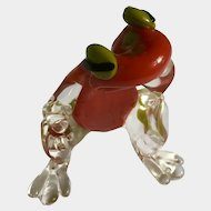 The Thinking Frog Glass Paperweight Initialed By Artist