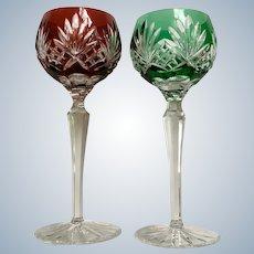 Hungary Ajka Crystal Glass Water Goblets Carolyne Emerald and Ruby Cut Palm Fan by AJKA CC