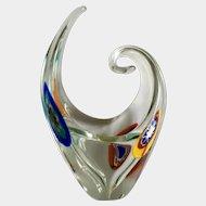 Murano La Serenissima Millefiori Glass Paperweight Vase Made in Italy