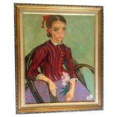 Van Gogh, La Mousmé also known as La Mousmé, Sitting in a Cane Chair, Signed by artist PJN, Original Figural Oil Painting on Canvas Board