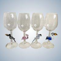 Art Glass Tropical Birds Crystal Wine Hand Blown