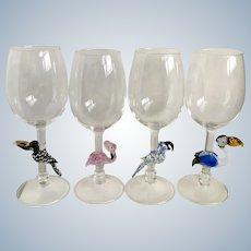 Tropical Birds Crystal Wine Art Glasses Hand Blown