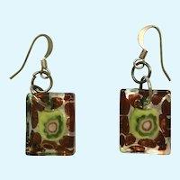 Hook Earrings Multicolored Art Glass for Pierced Ears