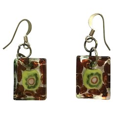 Hook Earrings Multicolored Art Glass for Pierced Ears