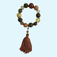 Autumn Beaded Bracelet with Dangling Tassel Fall Earth-Tone Colors