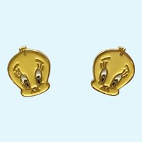 Tweety Bird Stud Post Earrings for Pieced Ears marked TMOWB '98