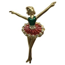 Pirouette Ballerina Brooch Pin Gold-Tone with Green and Red Enamel with Rhinestones 1980's