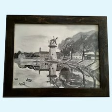 Fred Maes, European Windmill Charcoal Drawing Pastel Sketch