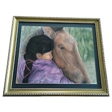 T. R. Garner, Girl Loving Horse Original Pastel Painting Signed by Native American Shawnee Tribe Artist