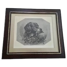 James Brade Sword (1839-1915) Bird Hunting Dog 19th Century Lithograph in Original Frame