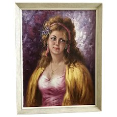 Italian Woman Portrait Oil Painting Signed by Unknown Artist