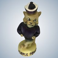 Purple Power Decanter Kansas Sate Willie Wildcat Whiskey Bottle Collegiate Collectable 1970