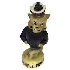 Purple Power Decanter Kansas Sate Willie Wildcat Whiskey Bottle Collegiate Collectable 1970