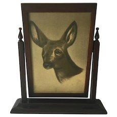 Antique Chromolithograph of Deer in a Standing Swivel Wood Picture Frame