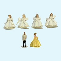 Mid-Century Wedding Bride & Groom Cake Toppers Bridesmaid Cupcake Picks Figurines