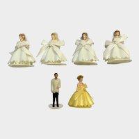 Mid-Century Wedding Bride & Groom Cake Toppers Bridesmaid Cupcake Picks Figurines