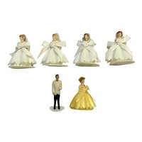Mid-Century Wedding Bride & Groom Cake Toppers Bridesmaid Cupcake Picks Heart Shaped Bottom Hong Kong Plastic Figurines