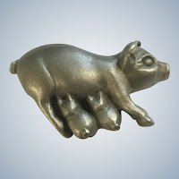 Hog Pewter Suckling Piglets with Mama Pig Figurine Spoontiques