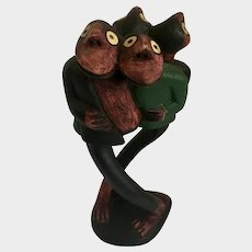 M Tshuma  Statue Figural Hand Carved Wood 'Unity But Crowded'
