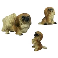 Pekingese Dogs Bone China Miniatures Animal Figurines Japan