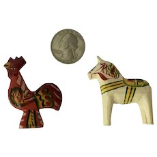 Miniature Dala Horse and Rooster Chicken Vintage Dalecarlian Hand Carved Sweden