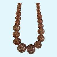 Vintage Glitter Mauve Beaded Necklace Sparkle Large Round Beads