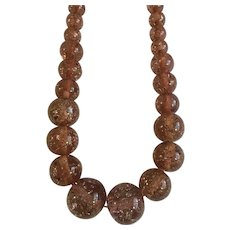 Vintage Glitter Mauve Beaded Necklace Sparkle Large Round Beads