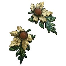 Autumn Leaf Stud Post Earrings with Brick Colored Stone Centers