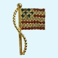 American Flag Rhinestone Brooch Pin