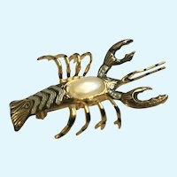 Lobster Gold-Tone Brooch Pin with Faux Pearl Body