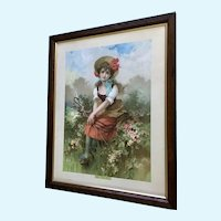 Little Bo Peep Chromolithography Print 19th Century