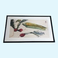 Japanese Watercolor Painting Still Life Vegetables Corn and Radishes