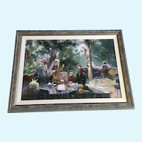 Figural People at Picnic Acrylic Painting Monogrammed