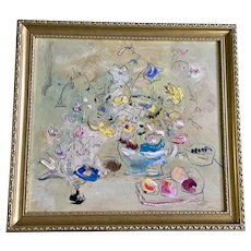 Sterling Strauser (1907-1995) Post-Impressionism Floral Still Life Table Oil Painting Signed by Listed Artist