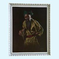 Chotai Yonaha (1933–2008) Japanese Man Black Velvet Oil Painting 1963