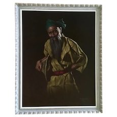 Chotai Yonaha (1933–2008) Japanese Man Black Velvet Oil Painting 1963 Signed By Listed Artist