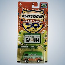 2001 Matchbox VW Volkswagen Georgia Die Cast Car 50th Birthday Transporter Across America New in Box Mattel