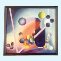 John Arguello, Modern Art, Geometric Study of Shapes, Circles, Lines and Spheres, Original Oil Painting on Canvas, Signed by Artist