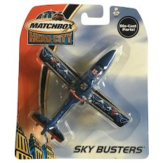 2003 Matchbox Blue Search Plane K9-1 Hero City Sky Busters Die-Cast Airplane New in Box Mattel