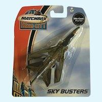2003 Matchbox Green Tornado Jet Fighter Plane Hero City Sky Busters Die-Cast Airplane New in Box Mattel