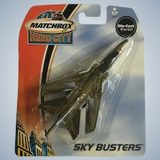 2003 Matchbox Green Tornado Jet Fighter Plane Hero City Sky Busters Die-Cast Airplane New in Box Mattel
