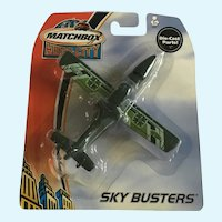 2003 Matchbox Green Search Plane Hero City Sky Busters Die-Cast Airplane New in Box Mattel
