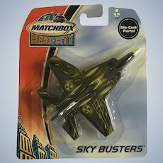 2003 Matchbox Green Stealth Fighter Jet Plane Hero City Sky Busters Die-Cast Airplane New in Box Mattel