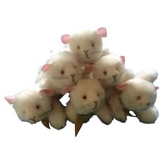 Annette Funicello Stuffed Animal #88271 Squeak Mouse, #7 Mice with Cheese Mohair Plush Collar Set of 6 Adorable Discontinued