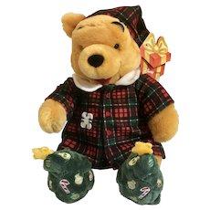 "Christmas Winnie the Pooh Bear Stuffed Plush Holiday Morning Jammies Disney New with Tags 12"""