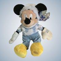 "Christmas Mickey Mouse Stuffed Plush Snowflake Sweater Core Christmas Disney Store Exclusive 15"""