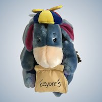 """Eeyore Donkey Stuffed Plush with lunch Bag and Propeller Hat Disney New with Tags 12"""""""