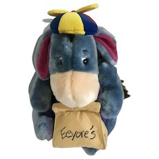 Eeyore Donkey Stuffed Plush with lunch Bag and Propeller Hat Disney New with Tags 12""